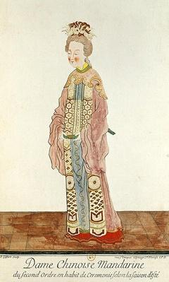 Portrait of a Mandarin Woman of the Second Order Wearing a Summer Ceremonial Costume, from 'Estat Present de la Chine' by Pere Bouvet, 1647
