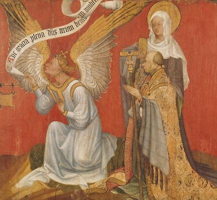 Panel from a diptych depicting the Angel of the Annunciation, the Donor and a Female Saint, possibly St. Mary Magdalene, c.1420