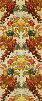 Textile with a repeating floral pattern, Lyon workshop, c.1740