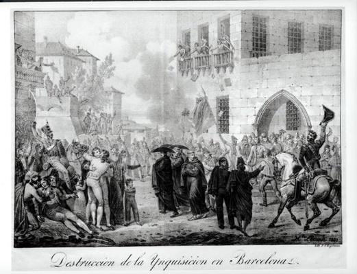 Destruction of the Inquisition in Barcelona, 10th March 1820, engraved by Godefroy Engelmann