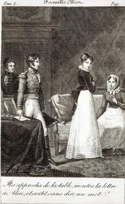 'He came up to the table, showed the letter to Alice and left without saying a word!', illustration from 'La Famille Elliot', a translation of 'Persuasion' by Jane Austen