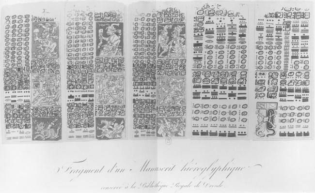 Copy of a fragment of a Mayan manuscript depicting astronomical tables with the eclipses