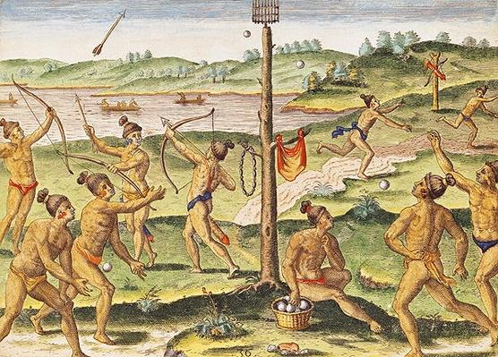 Indians Training for War, from 'Brevis Narratio...', engraved by Theodore de Bry