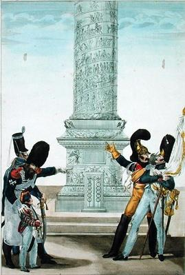 'Oh how proud one is to be French when you look at this column', caricature of soldiers at the Colonne Vendome, 1818