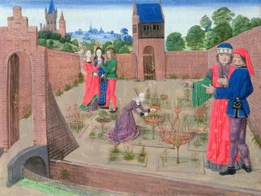 Add 19720 fol.214 Walled garden with a woman gardening and others gossiping, from Livre des Prouffits Champetres et Ruraulx by Pietro de Crescenzi
