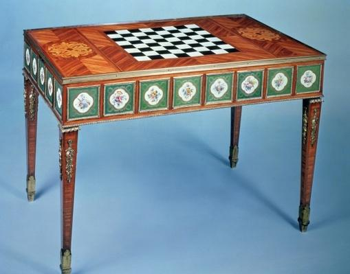 Sevres games table with porcelain plaques inset, 1775