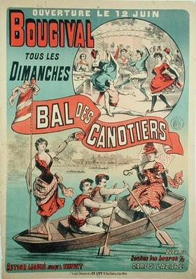 Poster advertising 'Le Bal des Canotiers' at Bougival, c.1875
