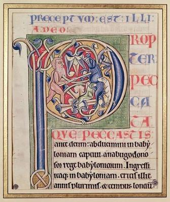 Historiated initial 'P' depicting a boar hunt, from the Bible of Saint-Andre aux-Bois