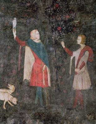Detail of two falconers, from the Stag Room, 1343