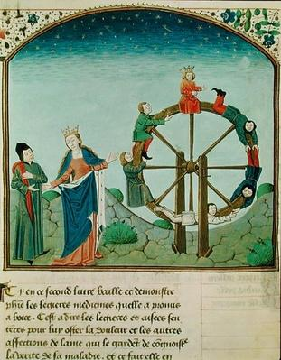 Ms 3045 fol.22v Boethius with the Wheel of Fortune, from 'De Consolatione Philosophiae', translated by Jean de Meung