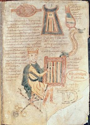 Ms 18 fol.13 King David playing a psaltery, from a psalter
