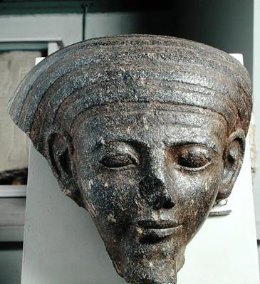 Head of a priest, from a sarcophagus, New Kingdom, c.1350 BC