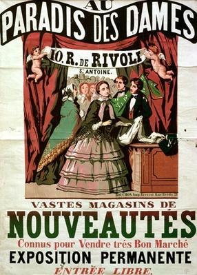Poster advertising 'Au Paradis des Dames', Parisian shop, 1856