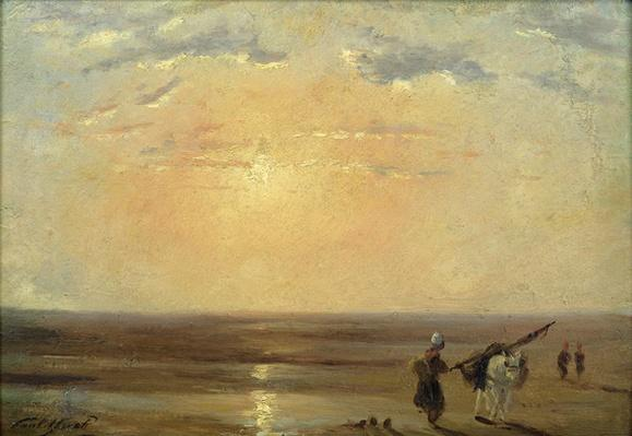 The Beach at Trouville with Setting Sun