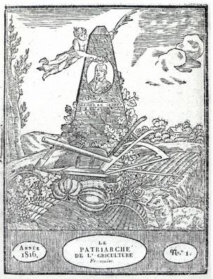 Frontispiece to an agricultural almanach with a portrait of Olivier de Serres