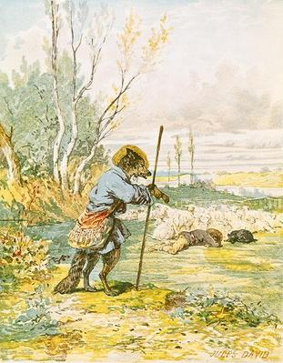 The Wolf as a Shepherd, from the 'Fables' by Jean de La Fontaine by David, Jules (1809-92)