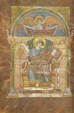 Ms 4 fol.17v St. Matthew, from the Gospel of St. Riquier, c.800