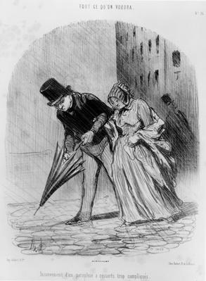 Series 'Tout ce qu'on voudra', Disadvantage of having an umbrella with a complicated spring system, plate 16, 1847