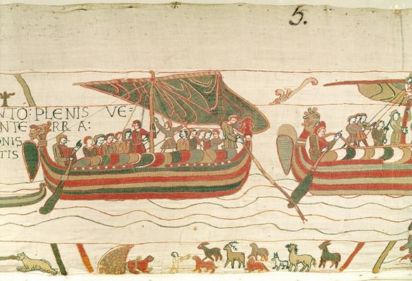 The Ships are Blown by the Wind to the Territory of Count Guy de Ponthieu, detail from the Bayeux Tapestery, before 1082