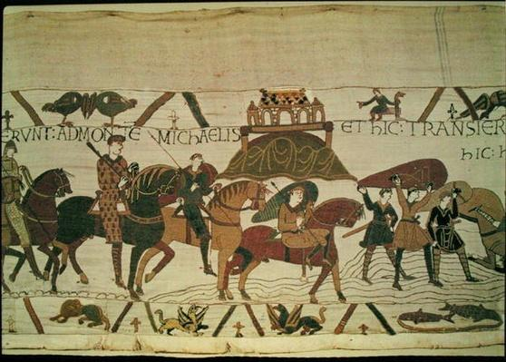 Here they cross the River Couesnon, and get stuck in the quicksand, detail from the Bayeux Tapestry, before 1082