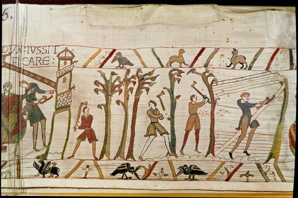 The trees are chopped down to build the ships, detail from the Bayeux Tapestry, before 1082