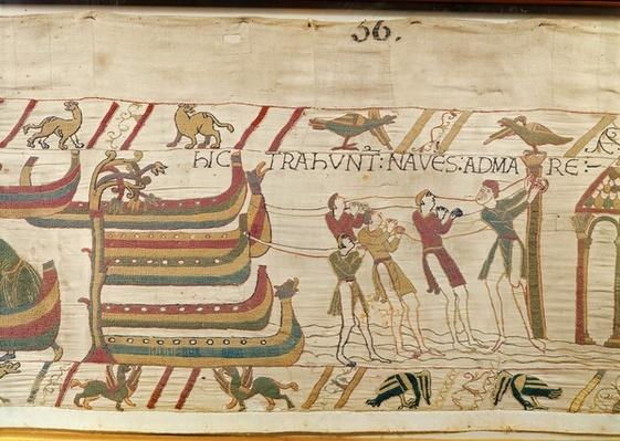 Here they pull the ships to the sea, detail from the Bayeux Tapestry, before 1082