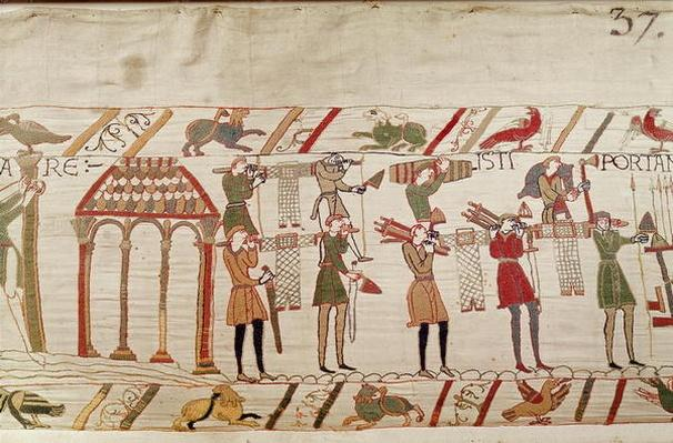 They carry arms to the ships, detail of the Bayeux Tapestry, before 1082