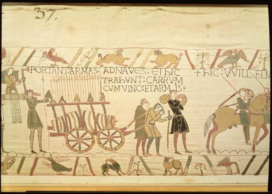 Men pulling a cart loaded with wine and arms, detail from the Bayeux Tapestry, before 1082