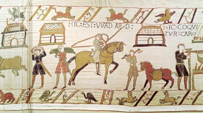 Here is Wadard, detail from the Bayeux Tapestry, before 1082