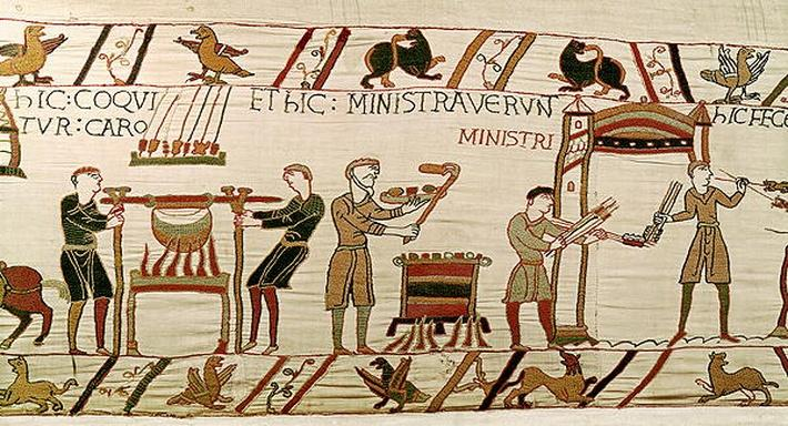 Here they cook the meat, detail from the Bayeux Tapestry, before 1082