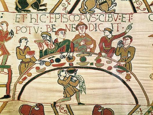 Here the bishop blesses the food and drink, detail from the Bayeux Tapestry, before 1082