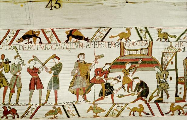 They construct the fortifications, detail from the Bayeux Tapestry, before 1082