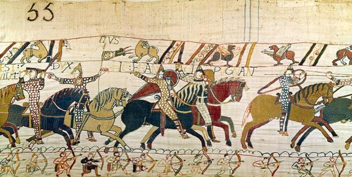 Here the French are fighting, detail from the Bayeux Tapestry, before 1082