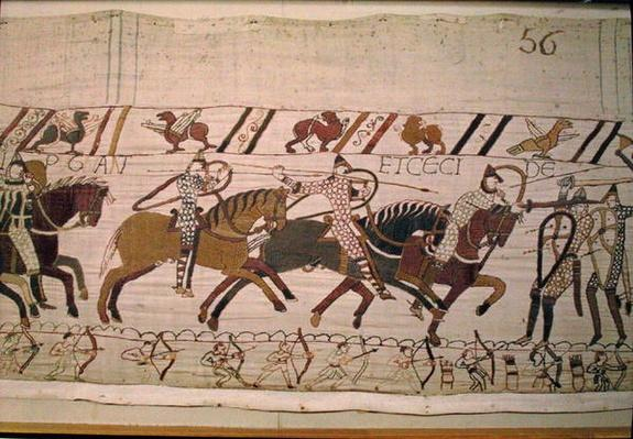 The French are fighting and they kill, detail from the Bayeux Tapestry, before 1082