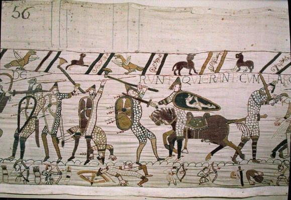 Here the French fight and kill those who were with Harold, detail from the Bayeux Tapestry, before 1082