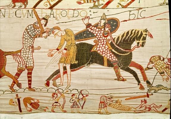Combatants, detail from the Bayeux Tapestry, before 1082
