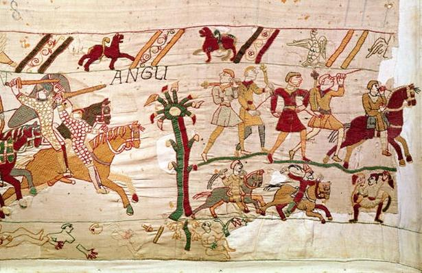 And the English flee, detail from the Bayeux Tapestry, before 1082