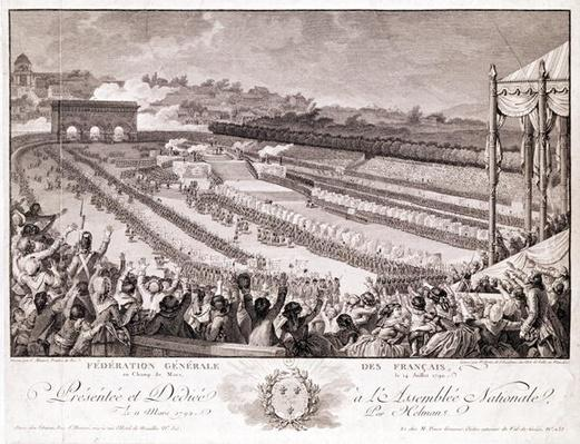 Festival of the Federation, 14 July 1790, at the Champ de Mars, late 18th century, engraved by Isidore Stanislas Helman