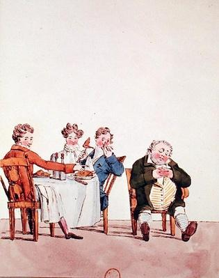 'Qui dort dine', caricature of a man sleeping after dinner