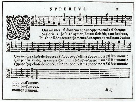 Poem to music by Jean Antoine de Baif