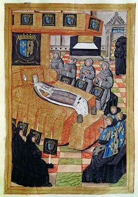 Fol.12r The Duchess Queen on her deathbed, from the Account of the Funeral of Anne of Brittany
