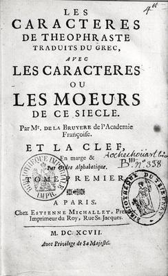 Titlepage of Theophrastus's 'Les Characteres ou les Moeurs' translated by Jean de la Bruyere
