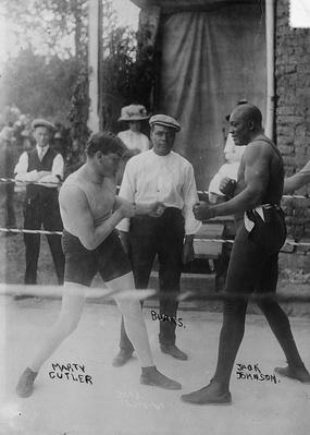Marty Cutler and Jack Johnson in the Ring | Ken Burns: Unforgivable Blackness
