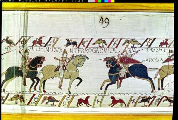Duke William asks Vital if he has seen Harold's army, detail from the Bayeux Tapestry, before 1082