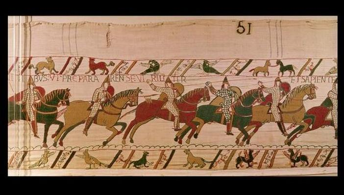 Duke William Exhorts his Troops to Prepare Themselves Wisely Like Men for the Battle Against the English Army, detail from the Bayeux Tapestry, before 1082