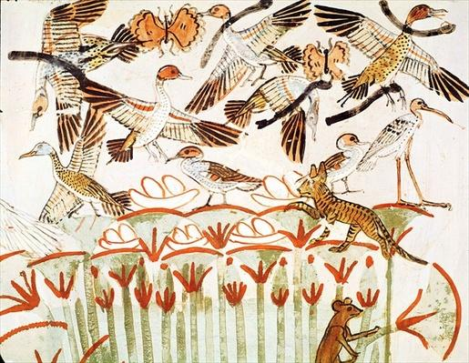 Fishing and fowling in the marshes, detail of the birds, from the Tomb Chapel of Menna, New Kingdom