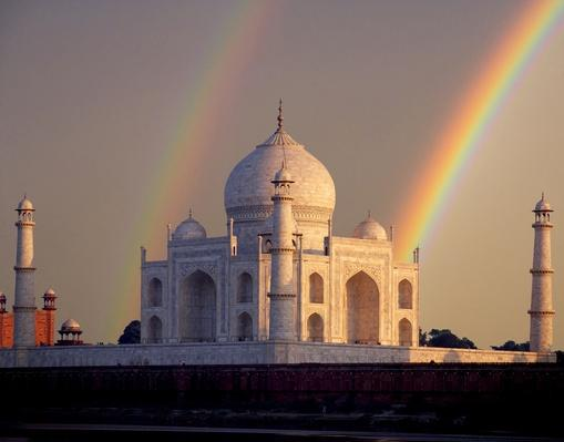 Double rainbow over Taj Mahal mausoleum | Wonders of the World