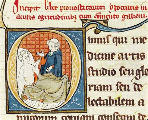 Ms 1003 fol.79 A Doctor Diagnosing a Patient, from 'Oeuvres de Galien' by Claudius Galenus