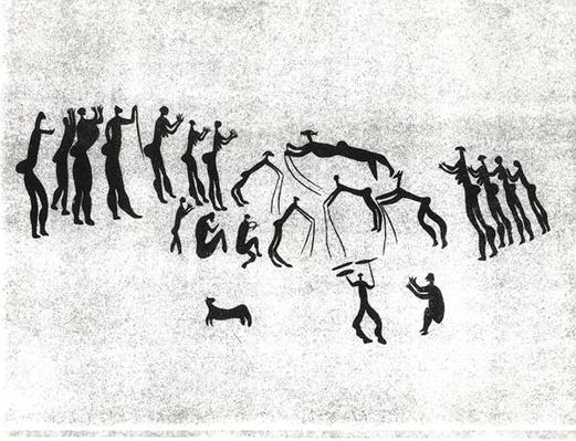 Facsimile of a neolithic wall painting