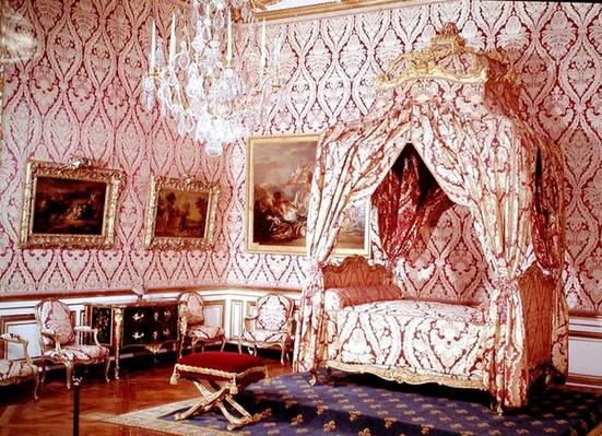 The bedroom of the dauphin with the bed of Madame de Seran, Louis XV style, 1729-74